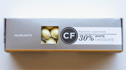 Hazelnuts coated in 35% White Chocolate 100g